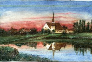 South Shore United Church, National Historic Site. Painting by Minnie Wright